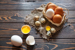 Assorted eggs rural composition Royalty Free Stock Images