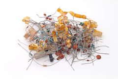 Assorted electronics components. On a plain white background Stock Image