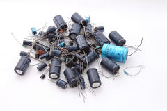 Assorted electronics components. On a plain white background Royalty Free Stock Photo