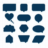 Assorted empty round corner silhouette speech bubble icons set Royalty Free Stock Photos
