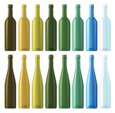 Assorted empty wine bottles. Vector empty wine bottles in eight different colors Royalty Free Stock Images