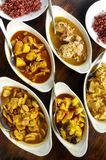 Assorted ethnic asian curry dishes Stock Photo