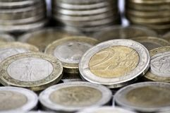 Assorted euro coins Royalty Free Stock Photo