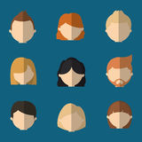 Assorted faceless people heads icon image Stock Photo