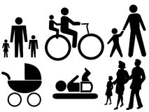 Assorted family silhouettes Stock Image
