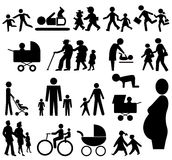 Assorted family silhouettes vector illustration