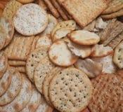 Assorted fancy crackers stock image