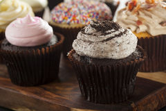 Assorted Fancy Gourmet Cupcakes with Frosting Royalty Free Stock Photography