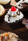 Assorted Fancy Gourmet Cupcakes with Frosting. On a Background Royalty Free Stock Photos