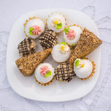 Assorted fancy gourmet cupcakes on a plate. Stock Image