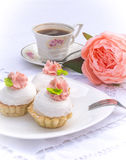 Assorted fancy gourmet cupcakes on a plate. Cupcakes with beautiful decoration over white vintage lace background. Royalty Free Stock Photo