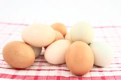 Assorted Farm Fresh Eggs On Kitchen Fabric Stock Image