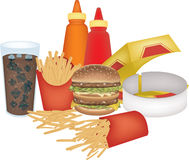 Assorted fast food vector illustration