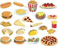 Assorted Fast Food Icons Royalty Free Stock Images
