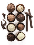 Assorted of fine chocolates stock images