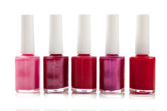 Assorted fingernail polish on a white background Royalty Free Stock Image