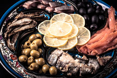 Assorted fish on a plate on a dark background.  Royalty Free Stock Photos