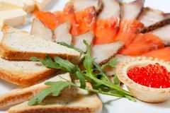 Assorted fish, salmon, salmon roe Stock Photography
