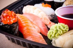 Assorted fish sushi with salmon caviar ikura Stock Photo