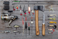 Assorted fishing tackle Stock Image