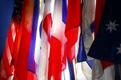 Assorted flags of differents countries. Photo of assorted flags of different countries Royalty Free Stock Photography