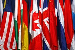 Assorted flags of differents countries. Photo of assorted flags of different countries Stock Images