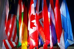 Assorted flags of differents countries Royalty Free Stock Photo