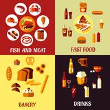Assorted flat food icons Stock Photos