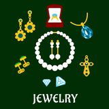 Assorted flat luxury jewelries icons Royalty Free Stock Photo