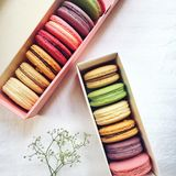 Assorted Flavored French Macaroons In Cardboard Boxes royalty free stock photography