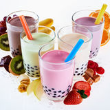 Assorted flavors of milky bubble or boba tea stock image