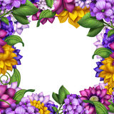 Assorted flowers frame isolated on white background Royalty Free Stock Photography