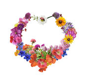 Assorted Flowers In Heart Shape Royalty Free Stock Photo