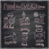 Assorted food and drinks graphic symbols chalkboard. Royalty Free Stock Images