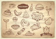 Assorted food and drinks graphic symbols. Vector Illustration