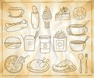 Assorted food and drinks graphic symbols set Royalty Free Stock Photos