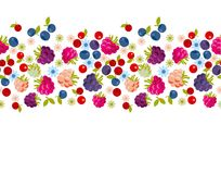 Assorted forest berries in header design element. royalty free illustration