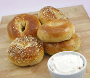 Assorted fresh bagels Stock Photo