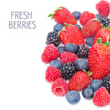 Assorted of fresh berries isolated on a white background Royalty Free Stock Images
