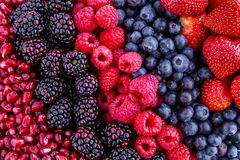 Assorted Fresh Berries and Pomegranate Seeds royalty free stock images