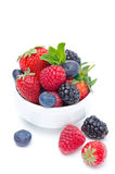 Assorted of fresh berries in a white bowl isolated. Assorted berries in a white bowl isolated (strawberries, blackberries, raspberries, blueberries Royalty Free Stock Images