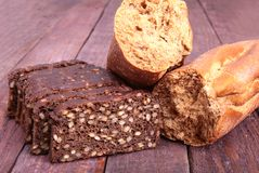 Assorted fresh breads isolated on old sackcloth. Royalty Free Stock Images