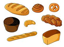 Assorted fresh cartoon bakery set Royalty Free Stock Photography