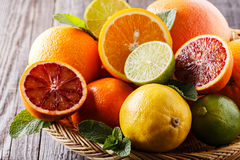 Assorted fresh citrus fruits. Royalty Free Stock Photography