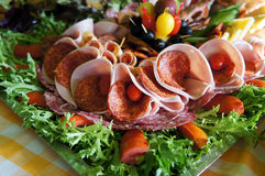 Assorted fresh cold cut platter Stock Photography