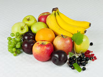 Assorted fresh fruit on table cloth Royalty Free Stock Photo