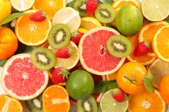 Assorted fresh fruit. Top view stock images