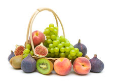 Assorted fresh fruit on a white background Royalty Free Stock Photography