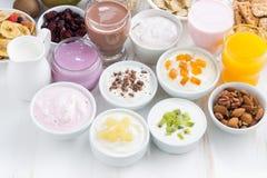 Assorted fresh fruit yoghurts and breakfast ingredients, horizontal Stock Image