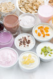 Assorted fresh fruit yoghurts and breakfast ingredients Stock Image
